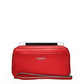 SAFFIANO LEATHER EAST/WEST UNIVERSAL CASE style:64976 SILVER / VERMILLION