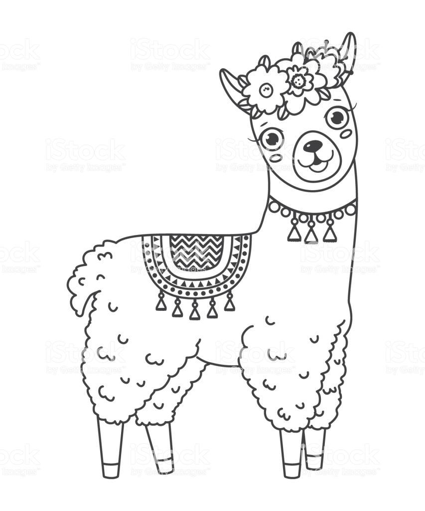 Le Lama Mignon De Saut De Griffonnage De Contour Avec Des ...