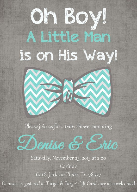 Tiffany Blue Gray Chevron Bow Tie Oh Boy Little Man Baby Shower Invitation Pdf Printable 5x7