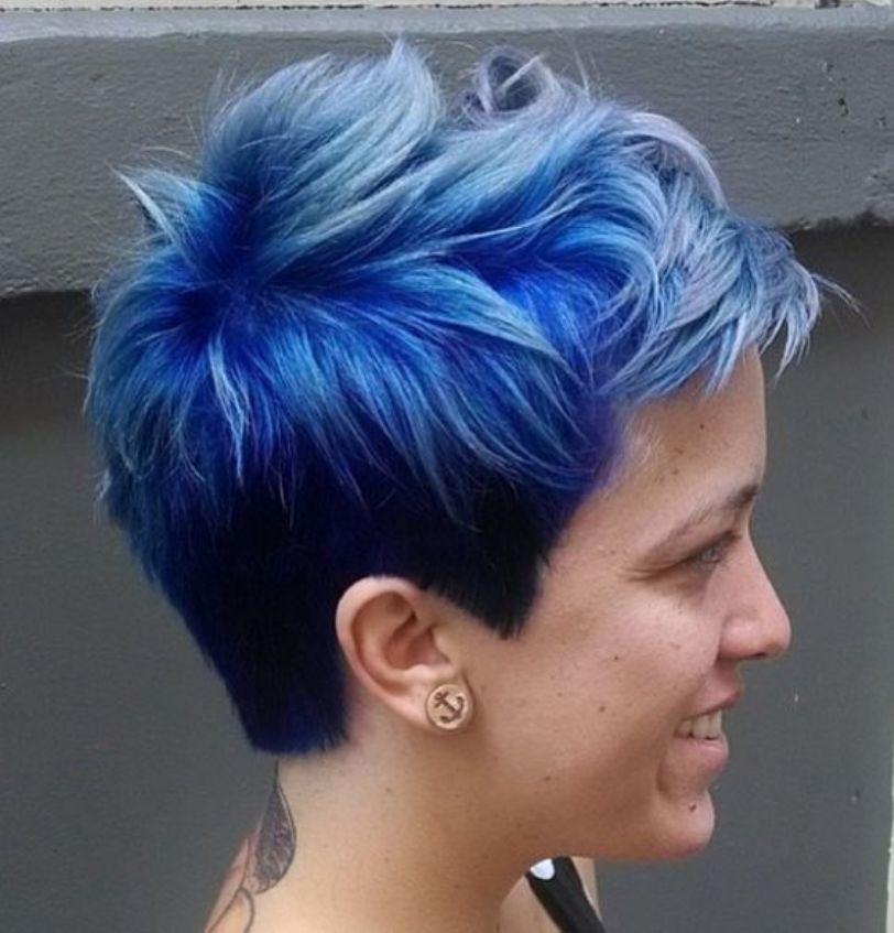 Pin on blue short hair