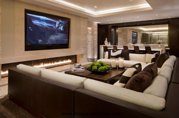 Elegant Home Theater Interior Decoration With Large TV Screen Trendy Fireplace And U Shaped Sectional Sofa Decorating Living Room