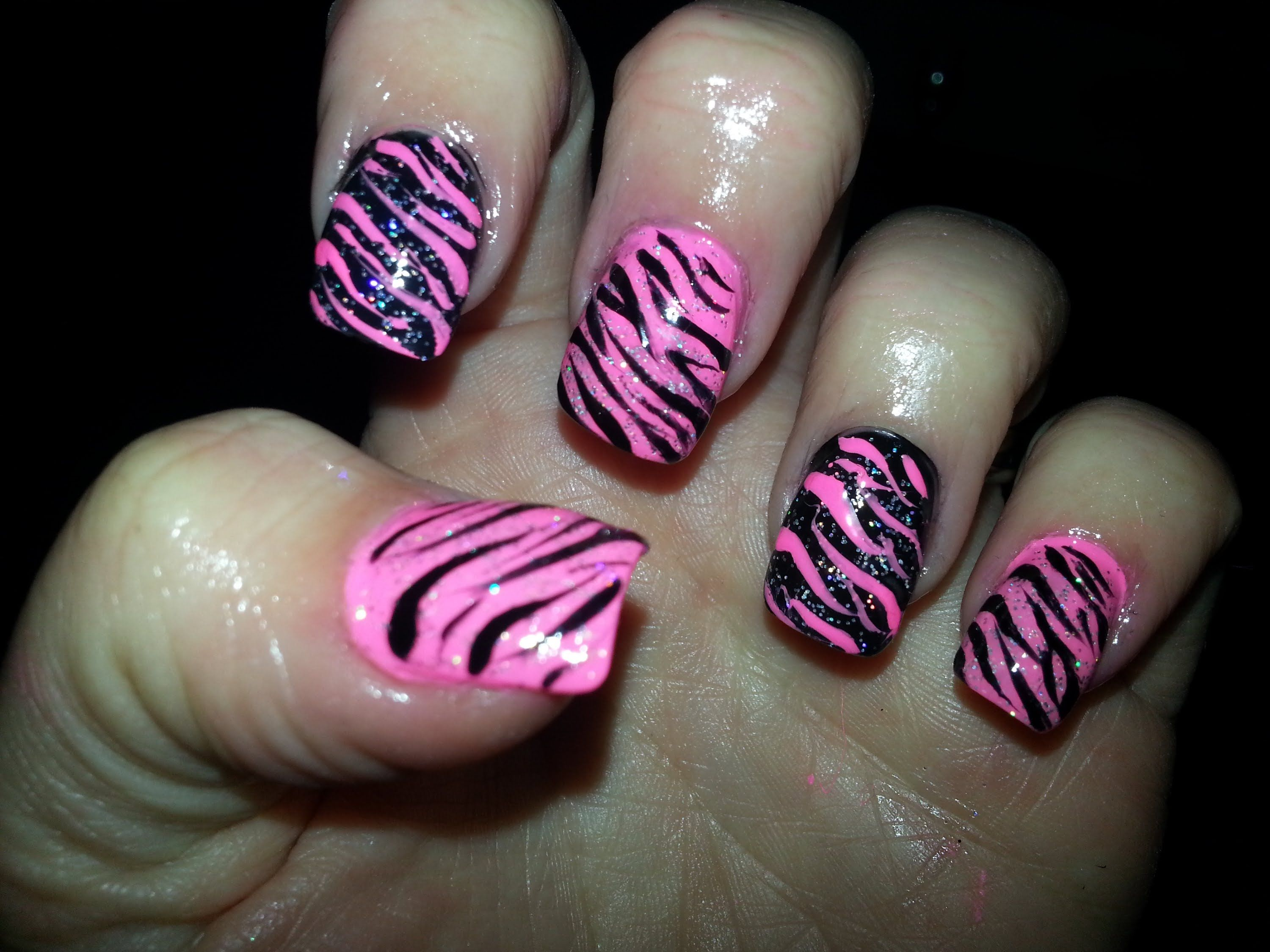 Fancy Pink And Black Zebra Nails Embellishment - Nail Polish Ideas ...