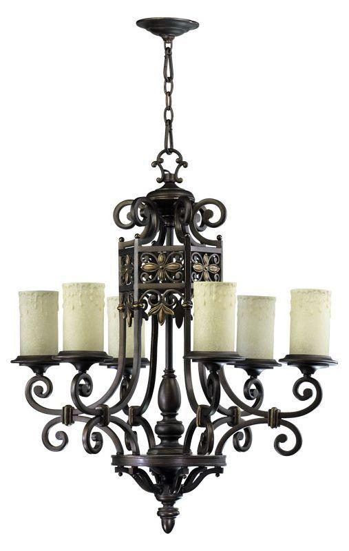 Quorum International 6131-6 Marcela 6 Light 1 Tier Chandelier Oiled Bronze Indoor Lighting Chandeliers