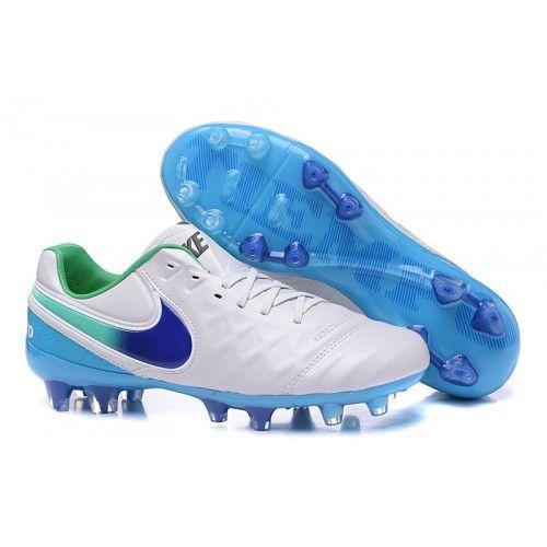 save off c369b d9808 Billiga Billiga Nike Tiempo Legend VI FG Fotbollsskor för män Vit Blå Grön