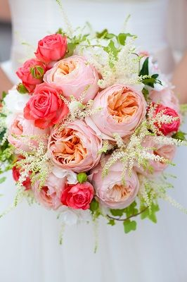 light pink peonies with dark pink roses and babys breath