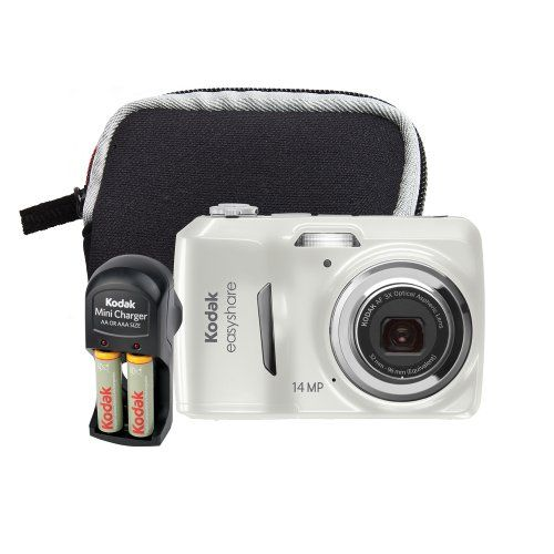 Kodak EasyShare C1530 14 MP Digital Camera with 3x Optical Zoom and 3.0-Inch LCD (Includes Rechargeable Batteries, Battery Charger, Camera Bag)(White Bundle) $69.99