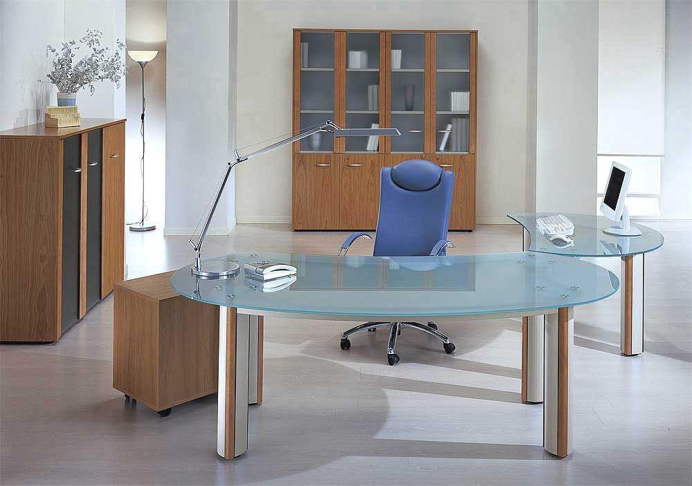 Glass Office Desk Furniture Glass Pinned by www.modlar