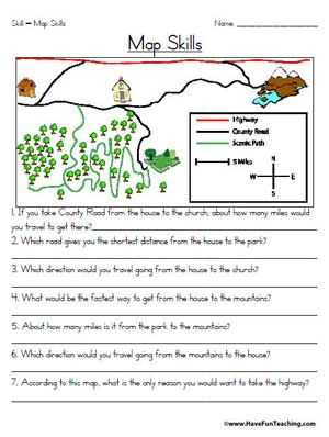 Map Skills Worksheet | Education | Pinterest | Map skills ...