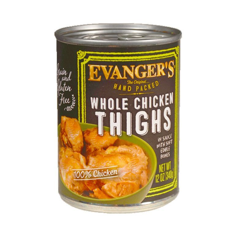 Evangers whole chicken thighs canned dog food dog