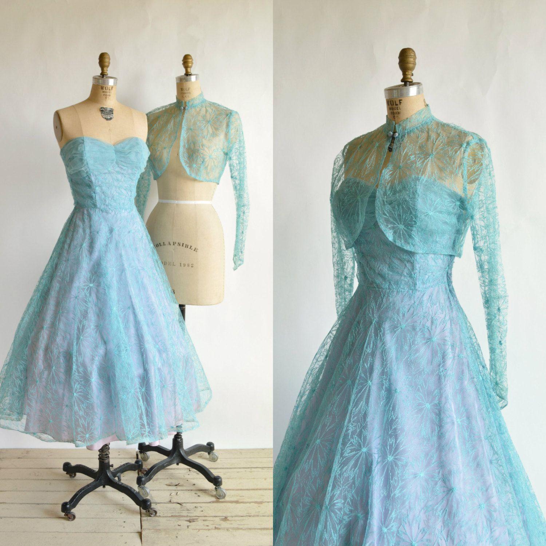1950s Cornflower Blue Prom Dress Vintage Lace by DalenaVintage   My ...