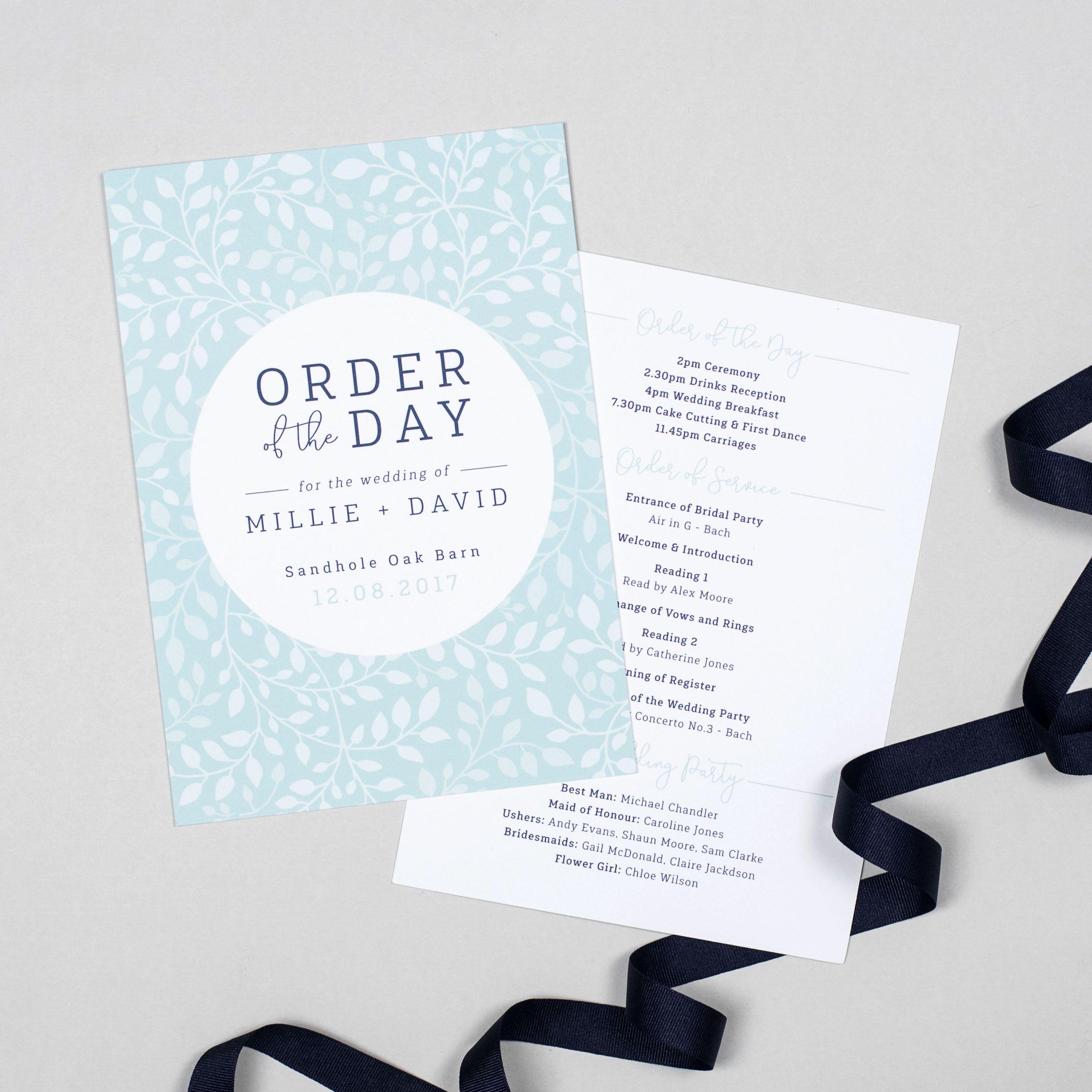 Alice wedding order of the day program cards wedding order alice