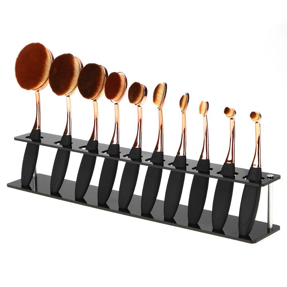 10 Fori Spazzolino Ovale Pennelli di Trucco Display Del Basamento Del Supporto Dell'organizzatore di Immagazzinaggio Pennello Asciugatrice Mostro Rack attrezzo di bellezza