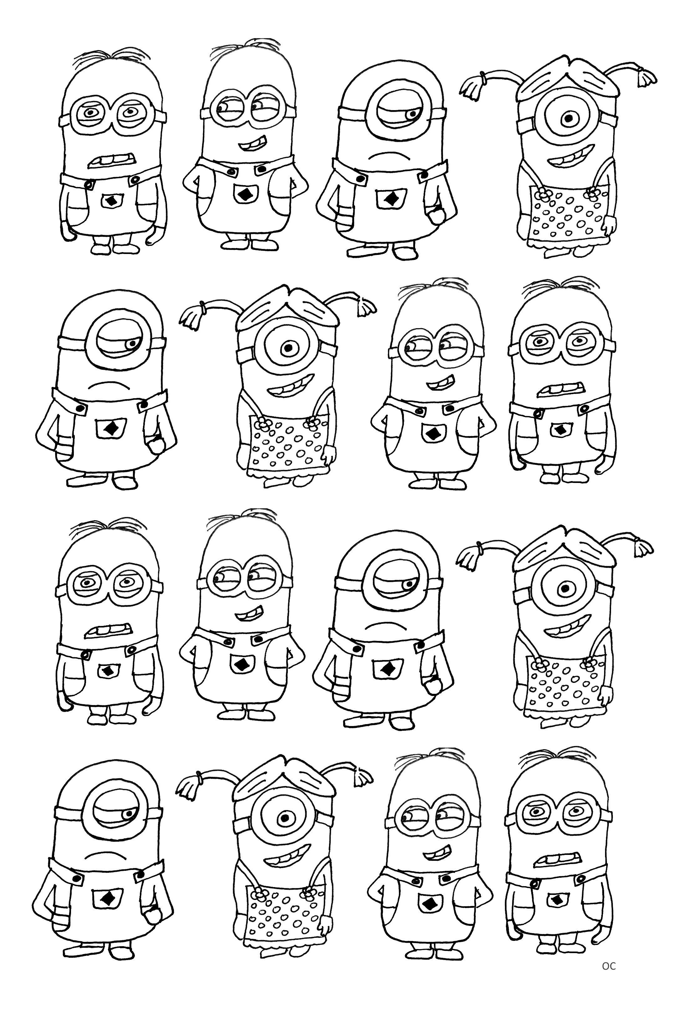 Free Coloring Page Numerous Minions With