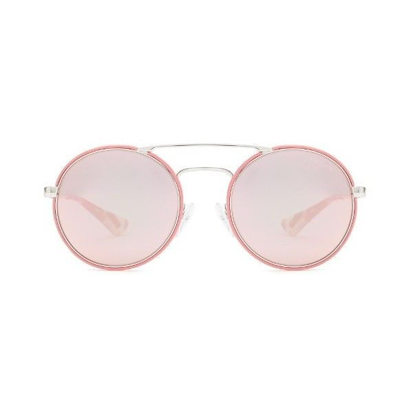 e0aa7c67c397 Prada Eyewear Round-frame mirrored sunglasses (3.053.030 IDR) ❤ liked on  Polyvore featuring accessories, eyewear, sunglasses, pink, pink mirror  sunglasses, ...
