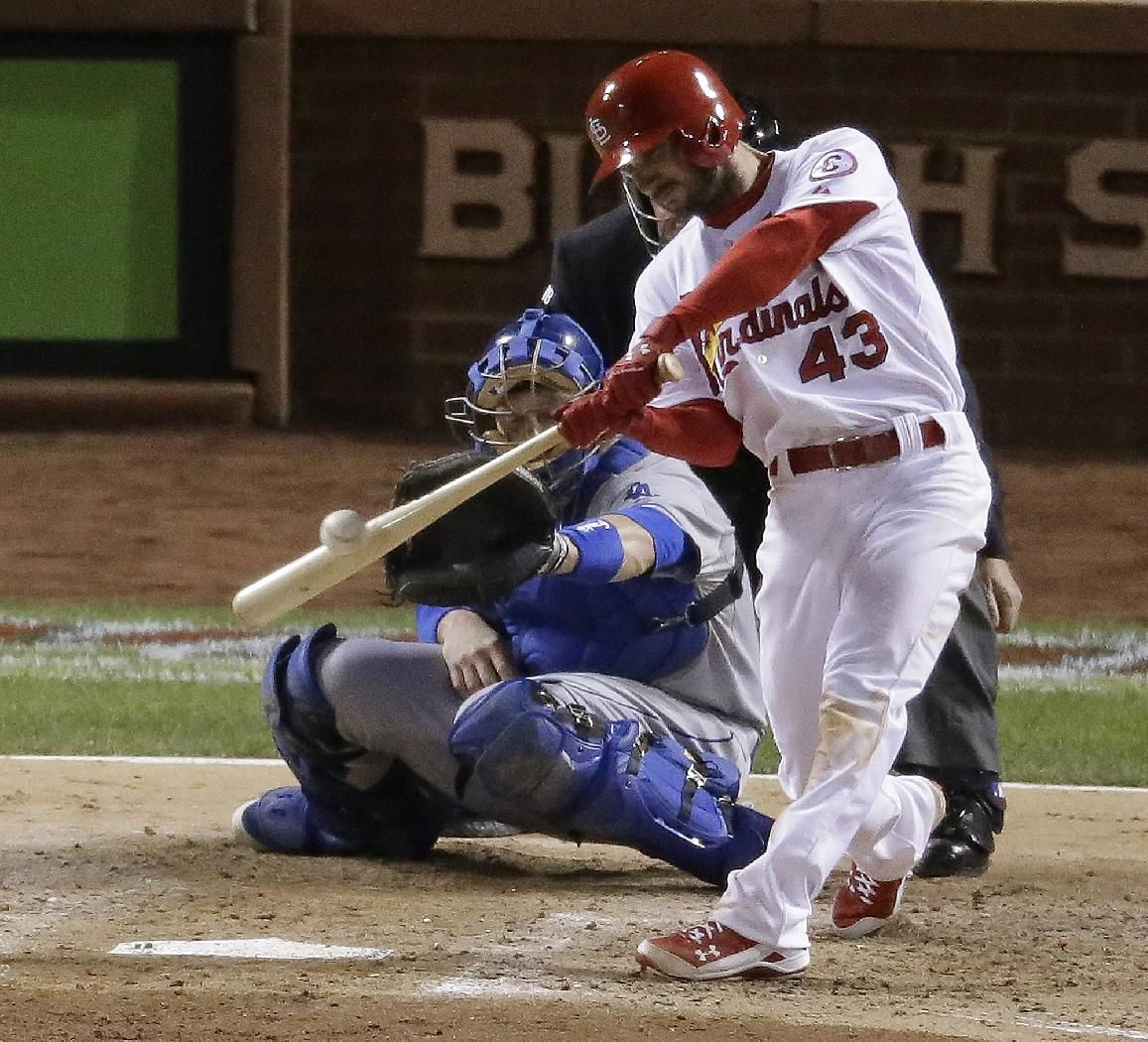 St. Louis Cardinals' Shane Robinson hits a tworun scoring