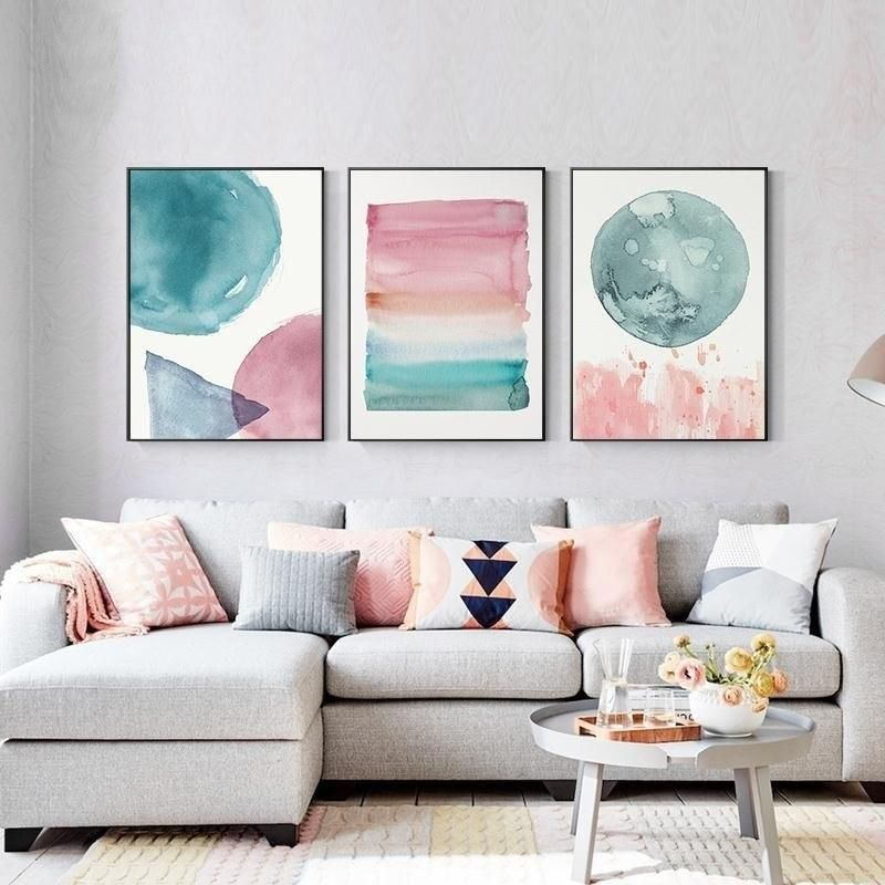 Abstract Nordic Watercolor Posters Pink And Blue Wall Art Canvas Prints Colorful Canvas Paintings For Kids Room Modern Home Bedroom Decor Blue Wall Art Canvas Blue Wall Art Kids Room Paint