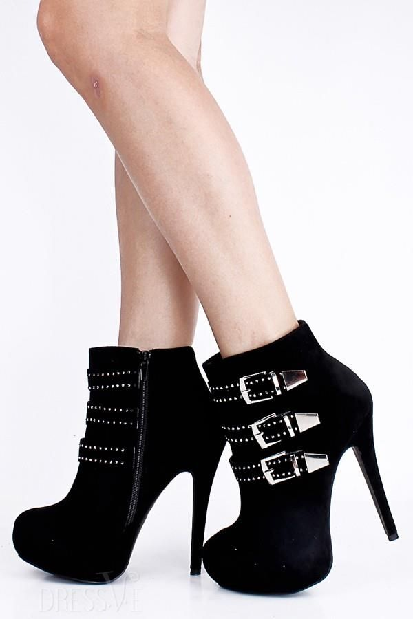 d6811e4ceb0c Deluxe Black Flocking Closed Toe Buckle Stiletto Heel Ankle Boots ...