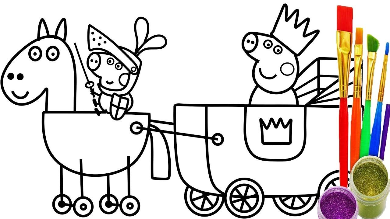 How To Draw Peppa Pig Princess Coloring Pages For Kids And Learn