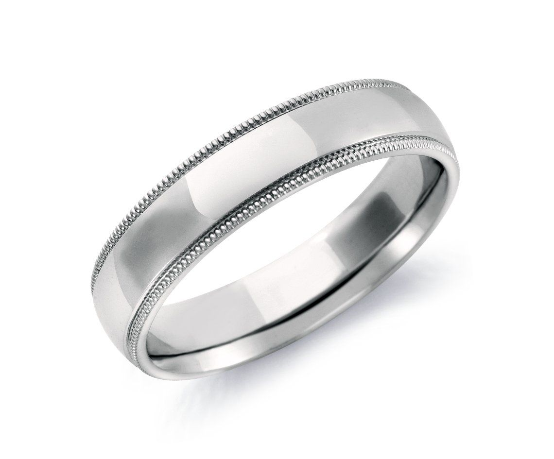 Mens 14K White Gold 6mm Slim Profile Comfort Fit with Milgrain Wedding Band Ring