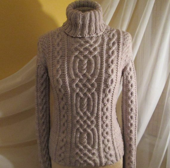 Cable Knit Celtic Knot Pattern Turtleneck Sweater by ...