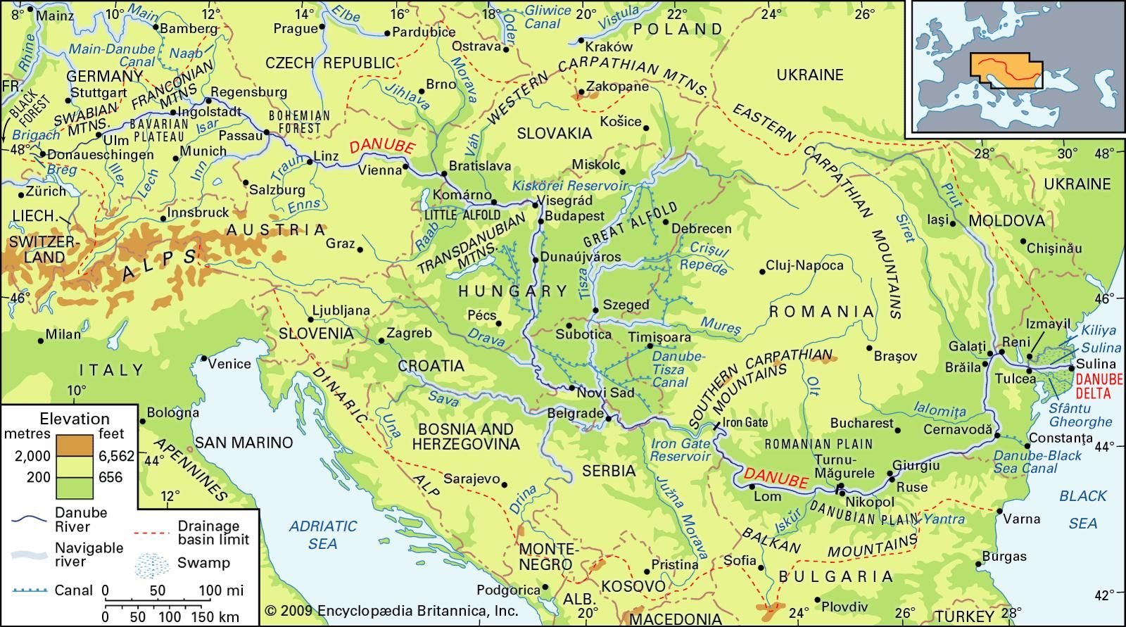 The Danube River Basin And Its Drainage Network Photographs - Danube river location on world map
