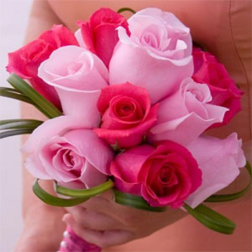 3 Bridesmaids Bouquets Romantic Dark Pink Light Pink Roses