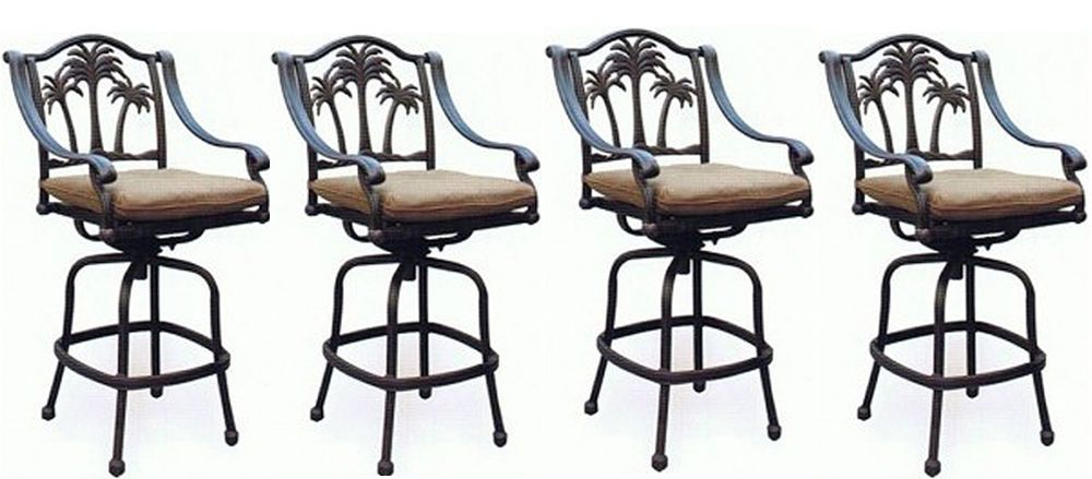 Details About Patio Palm Tree Cast Aluminum Barstool Set Of 4