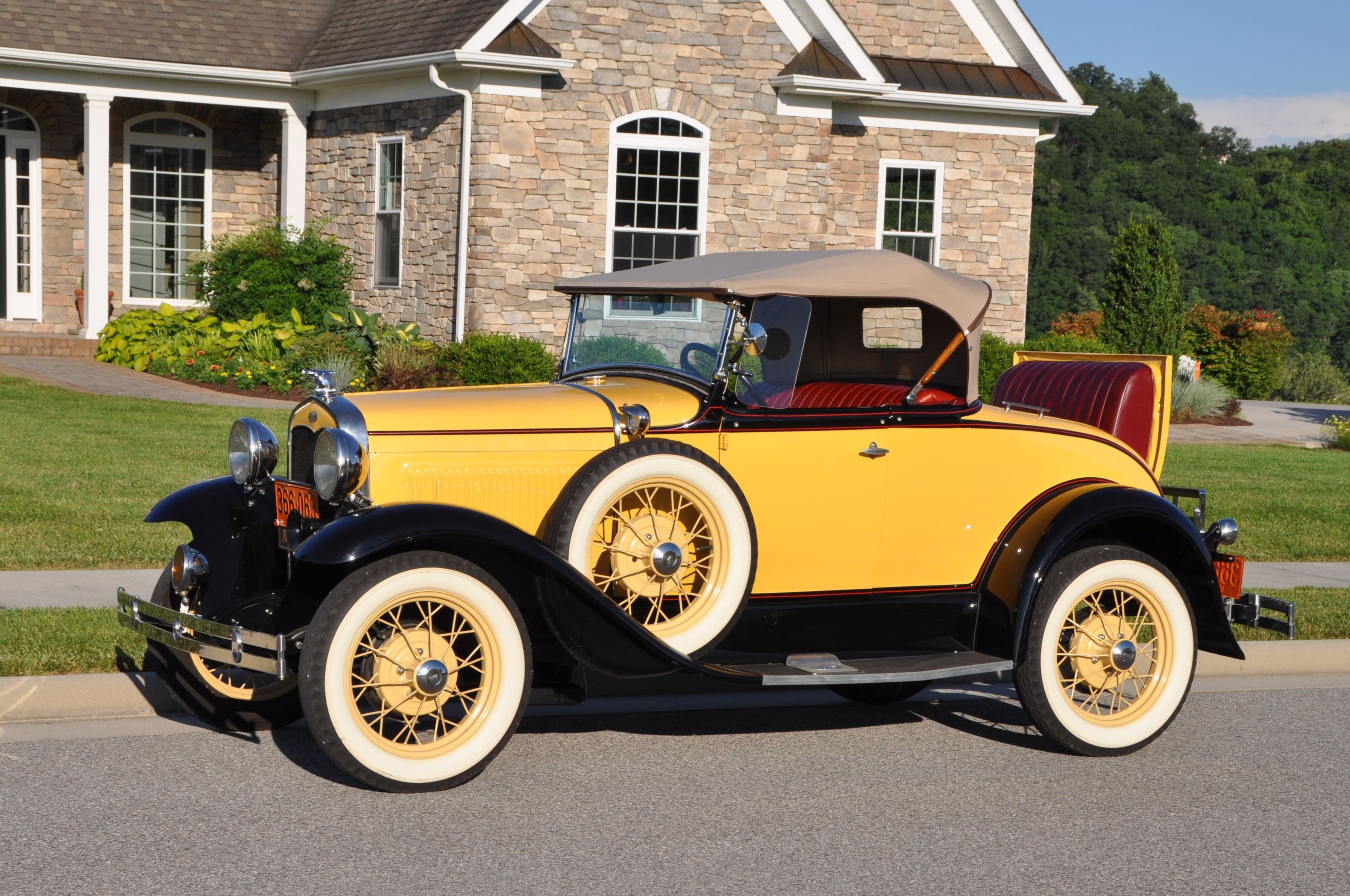1931 Ford Model A Deluxe Roadster in Bronson Yellow.