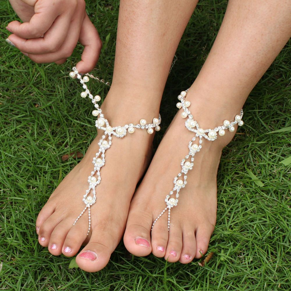 Barefoot Sandals Pearl Rhinestone Anklet Foot Beach Wedding Bridal Bridesmaid