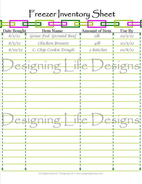 Freezer Inventory Sheet Printable Meal Planning Pdf Fridge