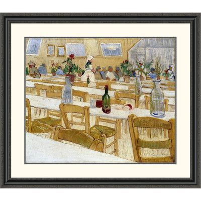 """Global Gallery 'A Restaurant Interior' by Vincent Van Gogh Framed Painting Print Size: 34.99"""" H x 40"""" W x 1.5"""" D"""