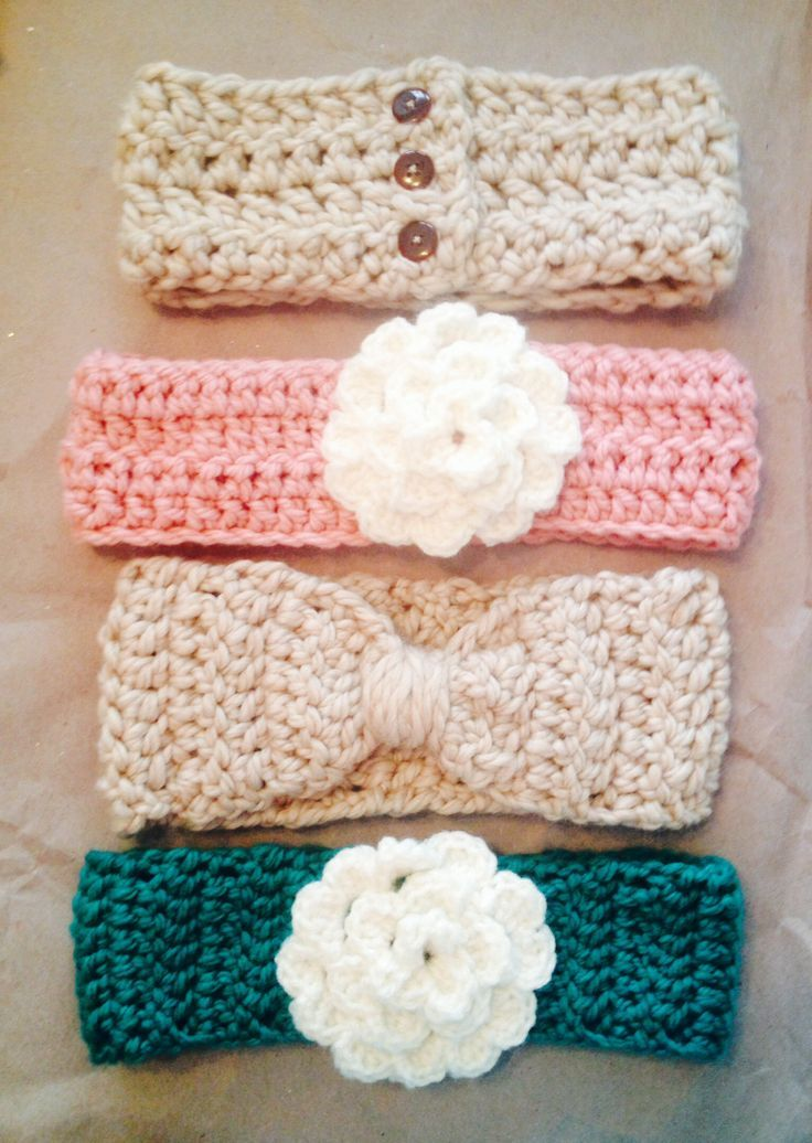 Crocheted winter headbands | artesanias | Pinterest | Stirnband