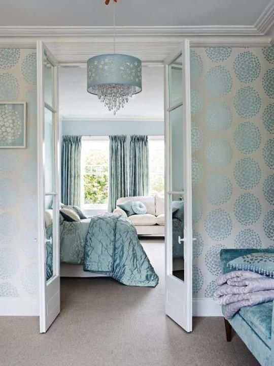 Duck Egg Wallpaper Bedroom Ideas Pin By Magda Du Plessis On Stencil | Bedroom Decor, Blue