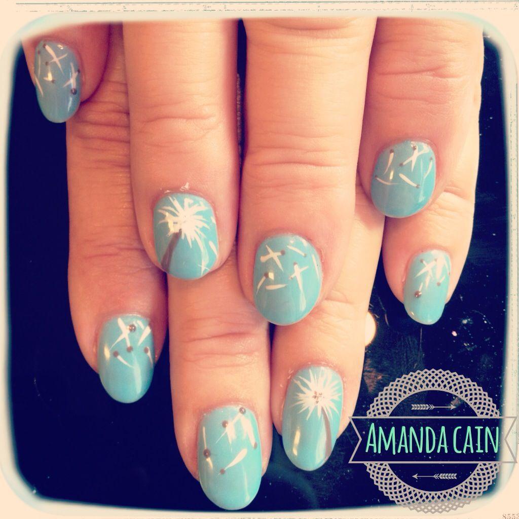 Nails nail art design dandelion blue pretty cute fun summer shellac ...