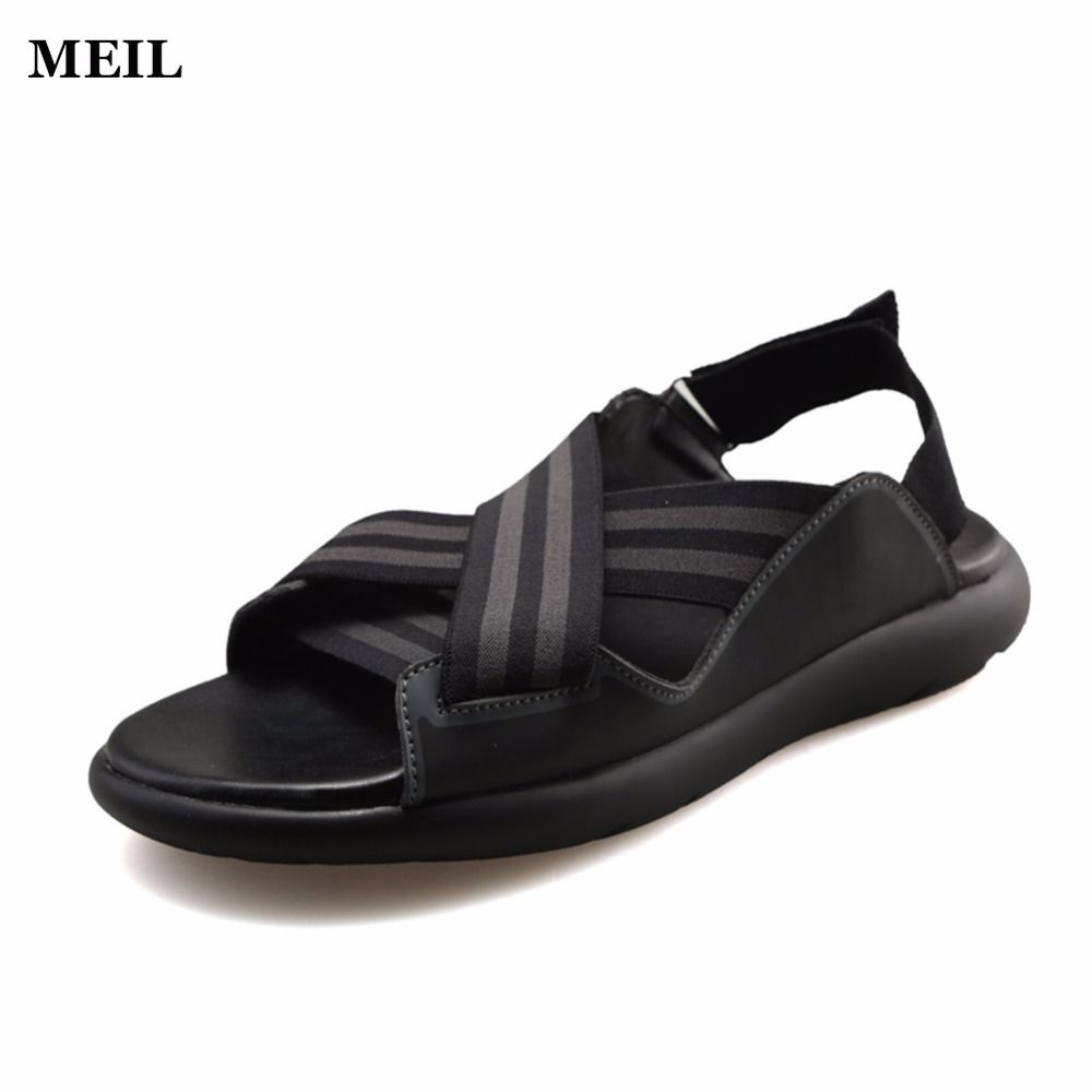 2017 New Fashion Y3 Sandals Indoor Men Opentoed Leather Sandals Men Sandals Top Quality