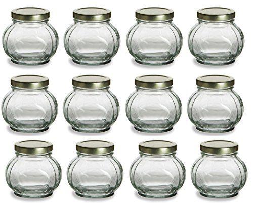 Nakpunar 12 pcs 8 oz Round Glass Jars  White lid jam jellies Honey faceted spice