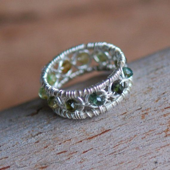 Green Tourmaline and Sterling Silver Ring, Green and Yellow, Wire ...