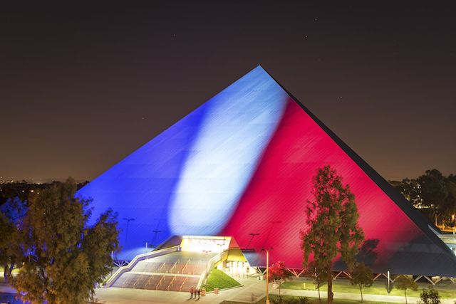 Cal State Long Beach Lit In Blue White Red In Solidarity With