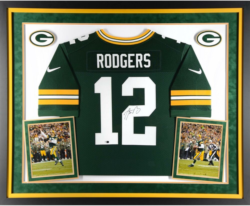 Aaron Rodgers Green Bay Packers Deluxe Framed Signed Nike Green Elite Jersey Sportsmemorabilia Autograph Footbal Aaron Rodgers Nfl Packers Rodgers Green Bay