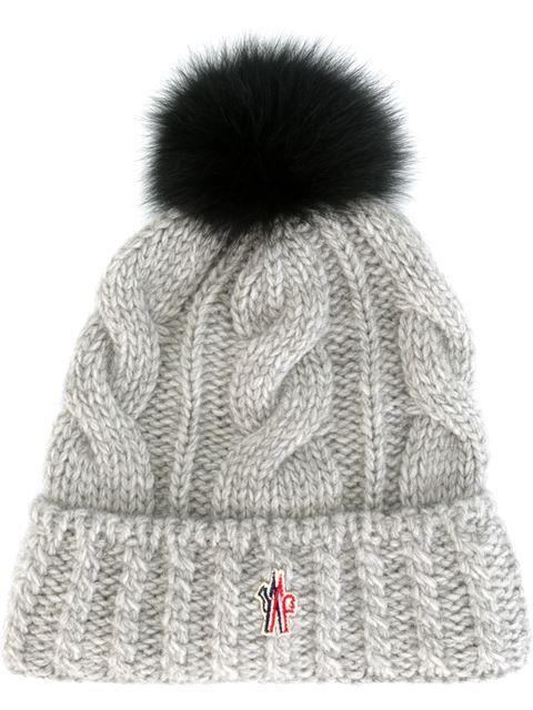 Moncler Grenoble Cable Knit Pompom Beanie - Loschi - Farfetch.com ... 7922ca86bd33