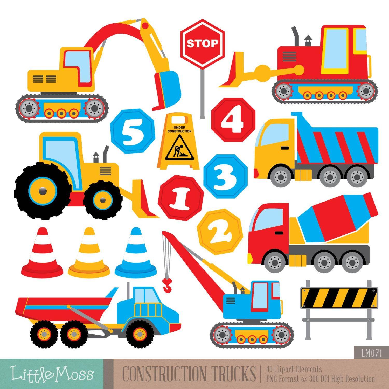 Bouw Trucks Digitale Clipart Etsy Camiones De Construccion Manualidades Codigos De Cupones