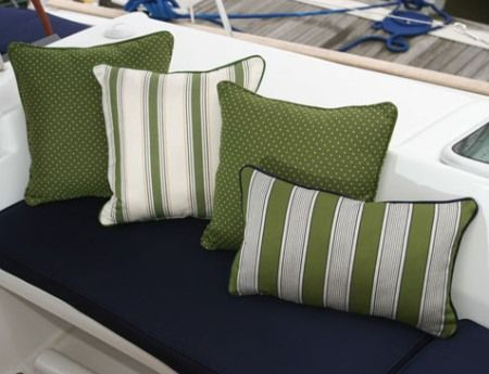 brightly colored outdoor pillows to spruce up your boat