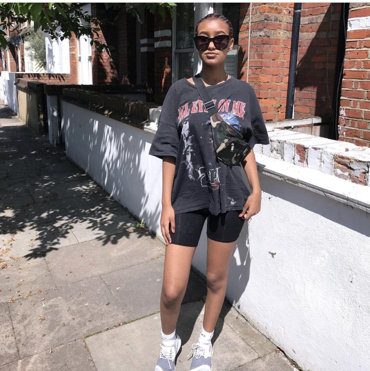 baggy band tee, biking shorts, dad shoes, belt bag, sunglasses fashion  NYC street style streetstyle streetwear