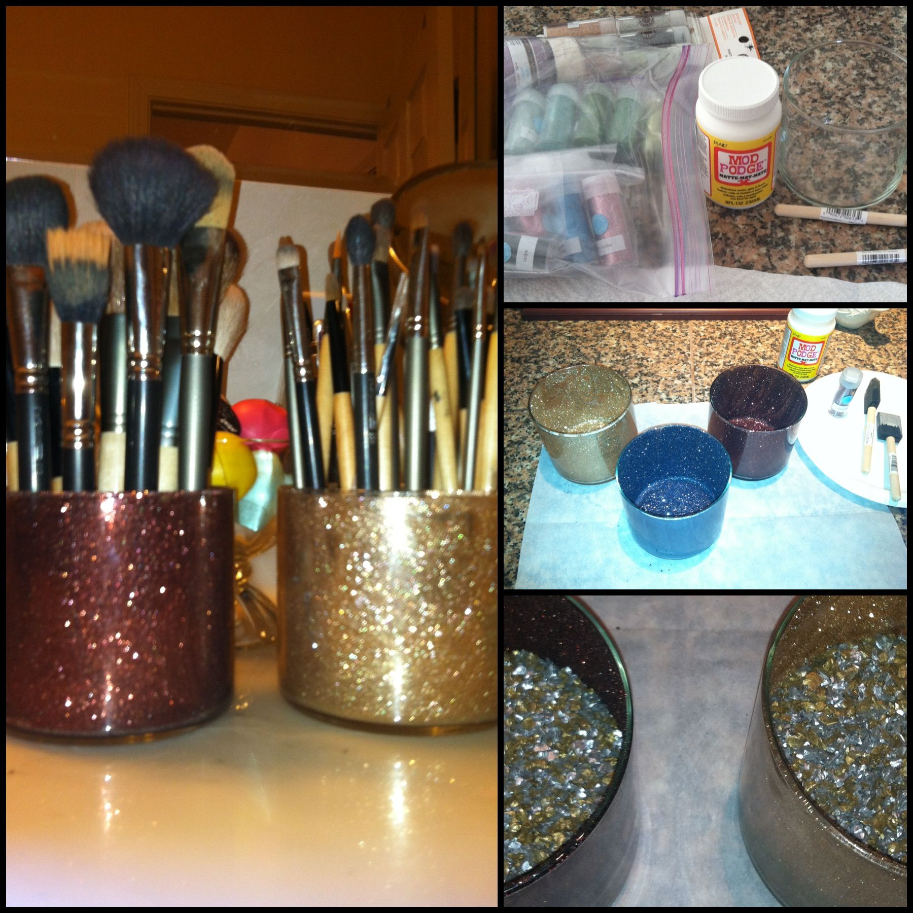 DIY makeup brush holders so cute!! Just did this and I love it!