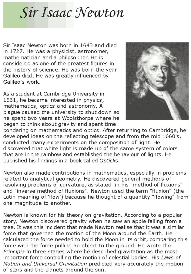 Biography of Isaac Newton Essay