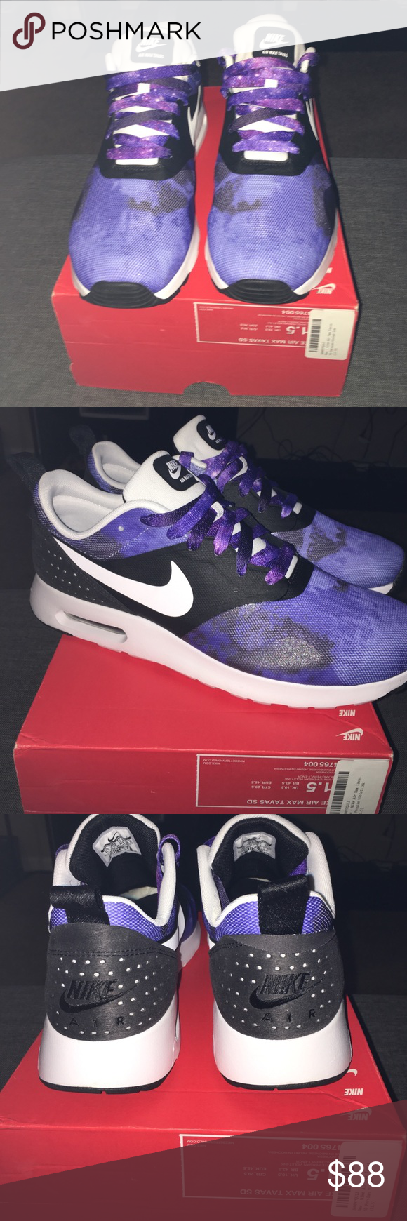 4c9b4e5f37d4 ... netherlands new nike air max tavas white violet w galaxy laces brand  new 76c65 89080