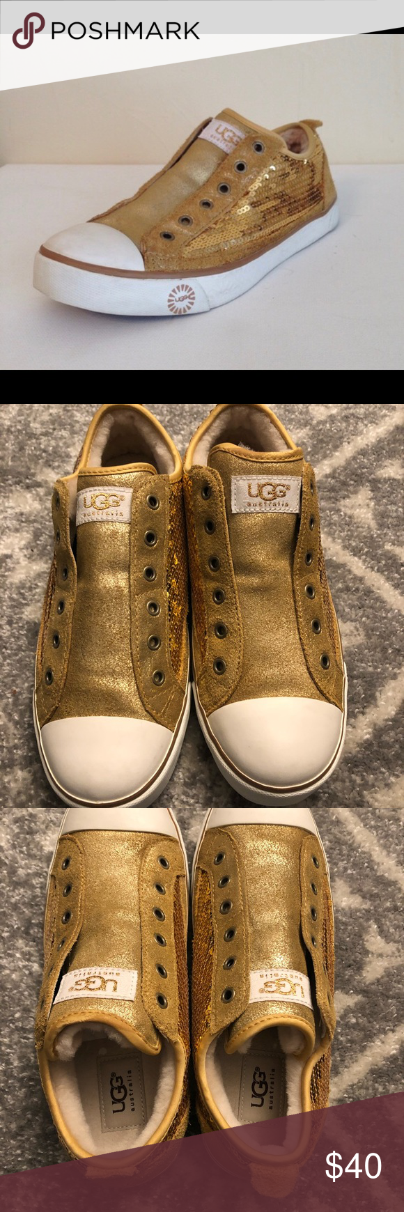 ccb71666b92 Ugg Laela sneakers gold sequins size 8 Ugg Laela sneakers with gold ...