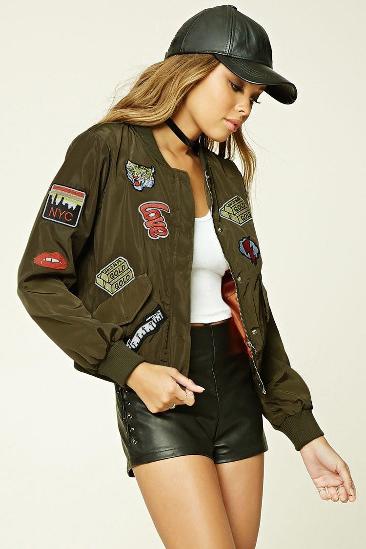 c00f89905e7c2 TWELVE Patch Bomber Jacket Forever 21 Bomber Jacket, Girls Bomber Jacket,  Cape Jacket,