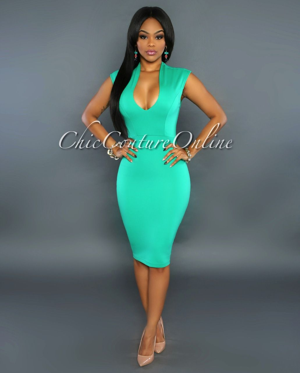 Chic Couture Online - Maui Green Low V Neckline Dress, (http://www ...