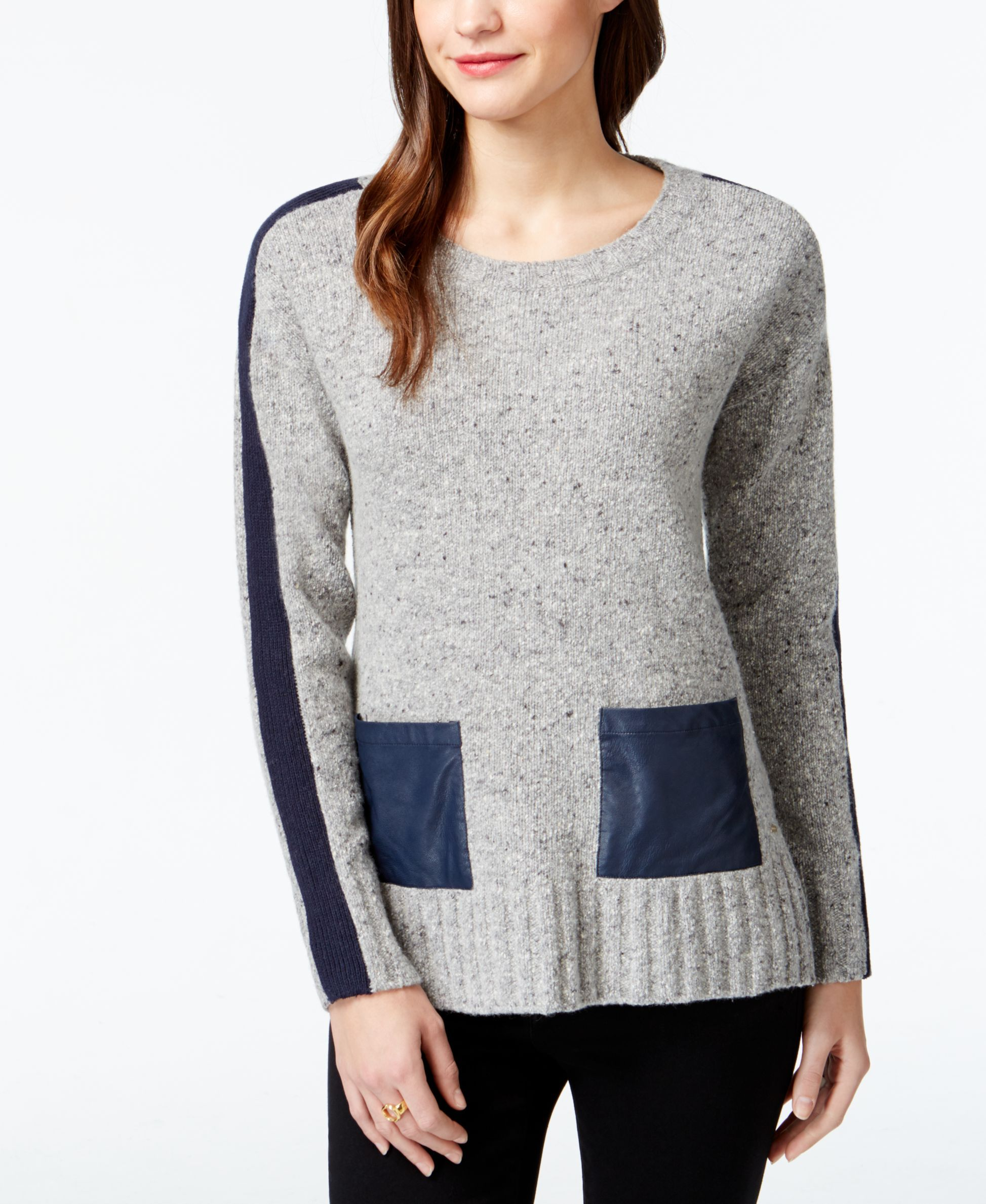 Tommy Hilfiger Faux-Leather Pocket Tunic Sweater